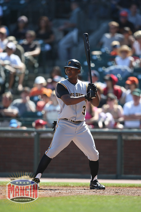 SAN FRANCISCO - SEPTEMBER 7:  Nyjer Morgan of the Pittsburgh Pirates bats during the game against the San Francisco Giants at AT&T Park in San Francisco, California on September 7, 2008.  The Giants defeated the Pirates 11-6.  Photo by Brad Mangin