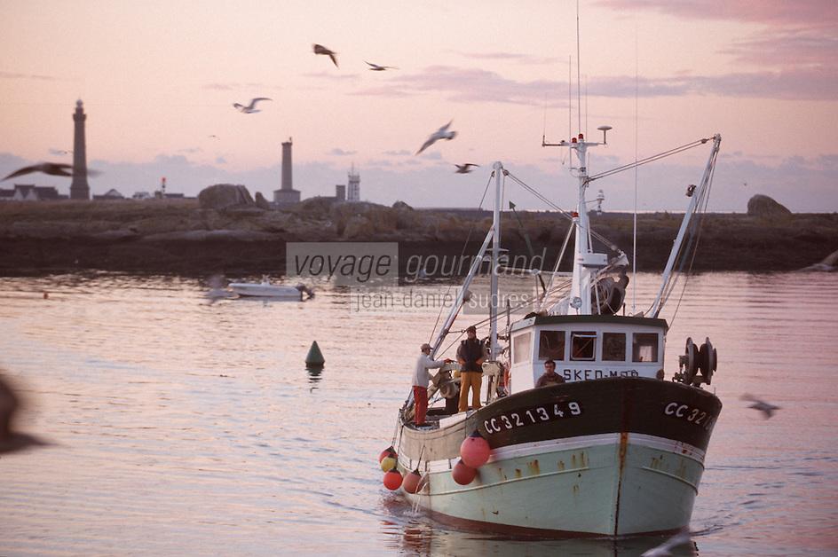 Europe/France/Bretagne/29/Finistere/St Guénolé: Retour des sardiniers au port à l'aube - en fond le phare d'Eckmülh (pointe de Penmarc'h)