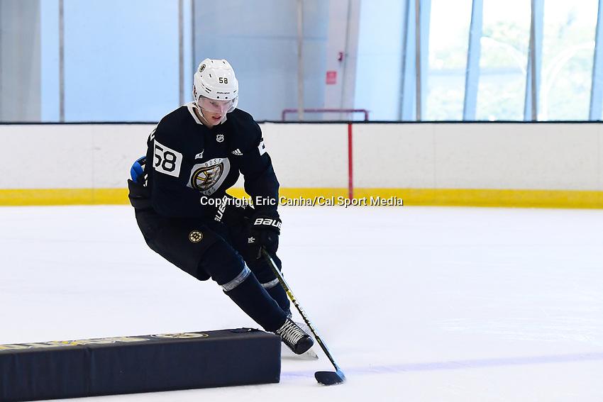 June 26, 2018: Boston Bruins defenseman Urho Vaakanainen (58) skates during the Boston Bruins development camp held at Warrior Ice Arena in Brighton Mass. Eric Canha/CSM