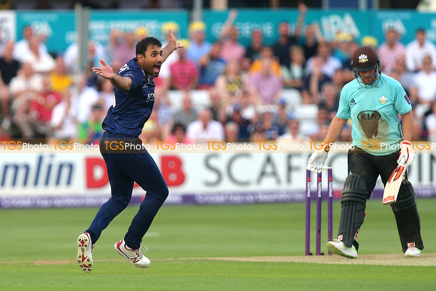 Ravi Bopara of Essex claims the wicket of Aaron Finch during Essex Eagles vs Surrey, NatWest T20 Blast Cricket at The Cloudfm County Ground on 7th July 2017