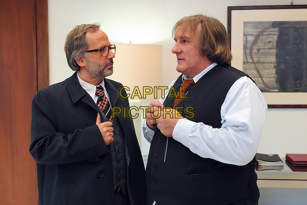 Fabrice Luchini & Gerard Depardieu.in Potiche.*Filmstill - Editorial Use Only*.CAP/PLF.Supplied by Capital Pictures.