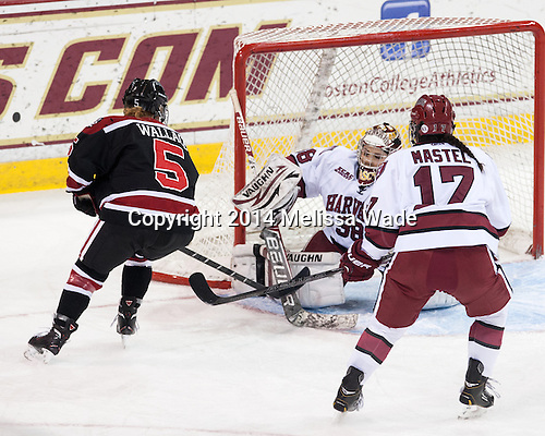 Kelly Wallace (NU - 5) scores on Emerance Maschmeyer (Harvard - 38). - The Northeastern University Huskies defeated the Harvard University Crimson 4-3 in the opening round of the 2014 Beanpot on Tuesday, February 4, 2014, at Kelley Rink in Conte Forum in Chestnut Hill, Massachusetts.
