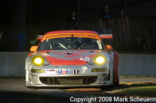 09 August 2008: The Flying Lizard Motorsports Porsche 911 GT3 RSR, driven by Johannes van Overbeek (USA) and Patrick Pilet (FRA) , at the Generac 500  at Road America, Elkhart Lake, Wisconsin, USA.