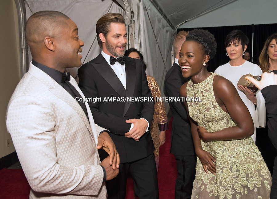 12.11.2016; Hollywood, Los Angeles: LUPITA NYONGO, DAVID OYELOWO AND CHIS PINE<br /> attended the Academy&rsquo;s 8th Annual Governors Awards in The Ray Dolby Ballroom at Hollywood &amp; Highland Center, Los Angeles.<br /> Mandatory Photo Credit: &copy;AMPAS/Newspix International<br /> <br /> **ALL FEES PAYABLE TO: &quot;NEWSPIX INTERNATIONAL&quot;**<br /> <br /> PHOTO CREDIT MANDATORY!!: NEWSPIX INTERNATIONAL(Failure to credit will incur a surcharge of 100% of reproduction fees)<br /> <br /> IMMEDIATE CONFIRMATION OF USAGE REQUIRED:<br /> Newspix International, 31 Chinnery Hill, Bishop's Stortford, ENGLAND CM23 3PS<br /> Tel:+441279 324672  ; Fax: +441279656877<br /> Mobile:  0777568 1153<br /> e-mail: info@newspixinternational.co.uk
