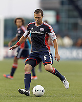 New England Revolution defender AJ Soares (5) passes the ball. In a Major League Soccer (MLS) match, Toronto FC defeated New England Revolution, 1-0, at Gillette Stadium on July 14, 2012.