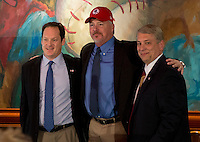 Toronto Blue Jays Director Minor League Operations Charlie Wilson, Buffalo Bisons manager Marty Brown, and Bisons Vice President/General Manager Michael Buczkowski  during a press conference introducing the Bisons new logo and manager for their affiliation with the Toronto Blue Jays at Coco-Cola Field on November 20, 2012 in Buffalo, New York.  (Mike Janes/Four Seam Images)