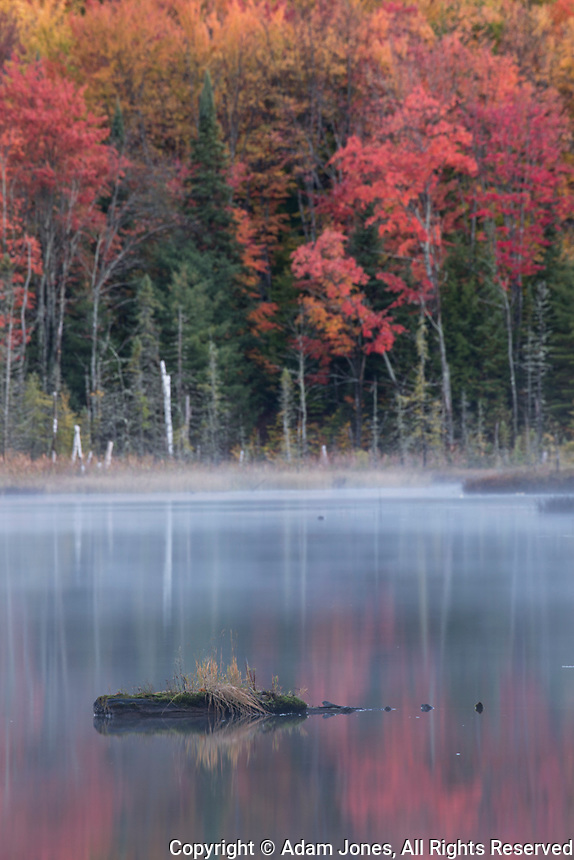 Autumn Colors and mist reflecting on Council Lake at sunrise, Hiawatha National Forest, Upper Peninsula of Michigan.