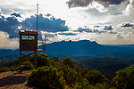 View of Montserrat from the fire watchtower at Turó de la Mamella, a ridge at 806m Parc Natural de Sant Llorenç del Munt i l'Obac