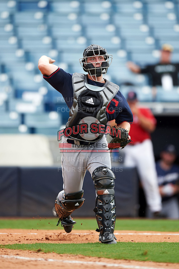 Brad Debo (13) of Orange High School in Durham, North Carolina playing for the Cleveland Indians scout team during the East Coast Pro Showcase on July 28, 2015 at George M. Steinbrenner Field in Tampa, Florida.  (Mike Janes/Four Seam Images)