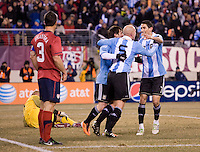 Lionel Messi, Javier Zanetti, Angel Di Maria. The USMNT tied Argentina, 1-1, at the New Meadowlands Stadium in East Rutherford, NJ.
