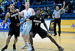 January 24, 2017:  San Diego State's, Trey Kell #3, and Zylan Cheatham #14, box out Falcon center, Frank Toohey #33, during the NCAA basketball game between the San Diego State Aztecs and the Air Force Academy Falcons, Clune Arena, U.S. Air Force Academy, Colorado Springs, Colorado.  Air Force defeats San Diego State 60-57.