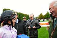 Jockey Megan Nicholls speaks to a connection of Moabit in the winners enclosure during Bathwick Tyres Reduced Admission Race Day at Salisbury Racecourse on 9th October 2017