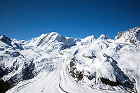 Gorner Glacier is found on the west side of the Monte Rosa massif above Zermatt Switzerland. It is 7.7 miles long and about a mile wide. The entire glacial area of the glacier related to Gorner Glacier is 22 sq miles which makes it the second largest glacial system in the Alps