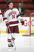 Alexander Kerfoot (Harvard - 14) - The Harvard University Crimson defeated the visiting Bentley University Falcons 3-0 on Saturday, October 26, 2013, in Harvard's season opener at Bright-Landry Hockey Center in Cambridge, Massachusetts.