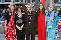 Bill Wyman with Suzanne Wyman, Matilda Wyman, Jessica Wyman &amp; Katherine Wyman at the opening night gala of The Rolling Stones' &quot;Exhibitionism&quot; at the Saatchi Gallery. <br /> April 4, 2016  London, UK<br /> Picture: James Smith / Featureflash