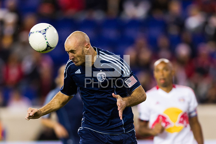 Aurelien Collin (78) of Sporting Kansas City. The New York Red Bulls and Sporting Kansas City played to a 0-0 tie during a Major League Soccer (MLS) match at Red Bull Arena in Harrison, NJ, on October 20, 2012.