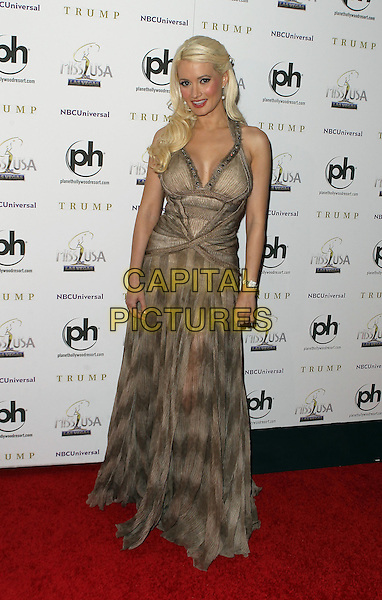 Holly Madison.Miss USA 2011 red carpet arrivals at the Planet Hollywood Hotel and Casino, Las Vegas, Nevada, USA..June 19th, 2011   .full length maxi dress beige brown print halterneck.CAP/ADM/MJT.© MJT/AdMedia/Capital Pictures.