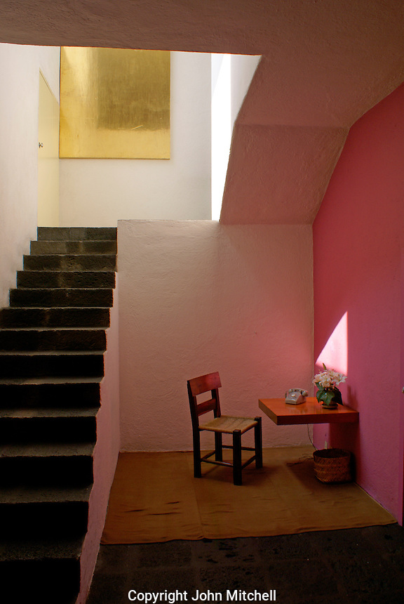 Vestibule and staircase, Museo Casa Luis Barragan house,  Mexico City, Mexico. The former home of Mexican architect Luis Barragan is a UNESCO World Heritage Site.