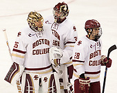 Ryan Edquist (BC - 35), Joe Woll (BC - 31), Ron Greco (BC - 28) - The visiting Merrimack College Warriors defeated the Boston College Eagles 6 - 3 (EN) on Friday, February 10, 2017, at Kelley Rink in Conte Forum in Chestnut Hill, Massachusetts.