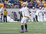 University at Albany Men's Lacrosse defeats Cornell 11-9 on Mar 4 at Casey Stadium.  Tehoka Nanticoke (#1).