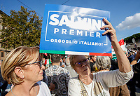 "A protester holds a sign reading ""Salvini Premier - Italian Pride!"" during the so-called ""Italian Pride!"" political rally attended by right parties' leaders against government's economic policies in St. John Lateran Square, Rome, Italy, October 19, 2019.<br /> Update Images Press/Riccardo De Luca"