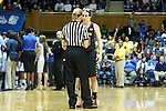 11 February 2013: Maryland's Katie Rutan (40) talks to referee Dee Kantner. The Duke University Blue Devils played the University of Maryland Terrapins at Cameron Indoor Stadium in Durham, North Carolina in an NCAA Division I Women's Basketball game. Duke won the game 71-56.