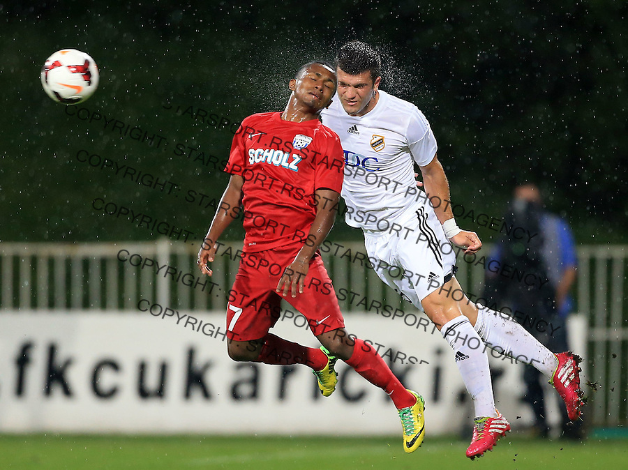 Fudbal Football Soccer<br /> UEFA Europa league-Second qualifying round, First leg<br /> Cukaricki v Grodig Austria<br /> Yordy Reyna (L)<br /> Beograd, 07.17.2014.<br /> foto: Srdjan Stevanovic/Starsportphoto &copy;