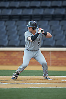 Brett Centracchio (5) of the Davidson Wildcats at bat against the Wake Forest Demon Deacons at David F. Couch Ballpark on May 7, 2019 in  Winston-Salem, North Carolina. The Demon Deacons defeated the Wildcats 11-8. (Brian Westerholt/Four Seam Images)