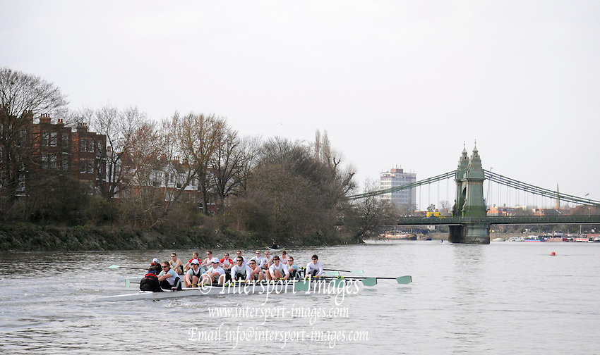 Putney. London. Tideway Week build up to the   2011 University Boat Race over parts of the Championship Course - Putney to Mortlake. Cambridge, CUBC, Blue Boat, extend their lead over Isis, as they approach Hammersmith Bridge. Tuesday 22/03/2011  [Mandatory Credit; Karon Phillips/Intersport-images]..Crews:.CUBC [Blue Boat]. Bow Mike THORP, 2 Joel JENNINGS, 3 Dan- RIX STANDING, 4 Hardy CUBASCH, 5 George NASH, 6 Geoff ROTH, 7 Derek RASMUSSEN, Stroke David NELSON and Cox Liz BOX. ... 2011 Tideway Week
