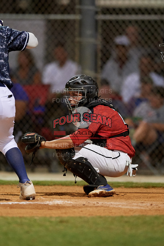 Brian Keeney during the WWBA World Championship at the Roger Dean Complex on October 19, 2018 in Jupiter, Florida.  Brian Keeney is a catcher from Indianapolis, Indiana who attends Roncalli High School.  (Mike Janes/Four Seam Images)