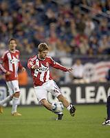 Chivas USA midfielder Blair Gavin (18) scoring shot. Chivas USA defeated the New England Revolution, 4-0, at Gillette Stadium on May 5, 2010.