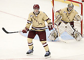 Patrick Wey (BC - 6), Parker Milner (BC - 35) - The Boston College Eagles defeated the University of Minnesota Golden Gophers 6-1 in their 2012 Frozen Four semi-final on Thursday, April 5, 2012, at the Tampa Bay Times Forum in Tampa, Florida.