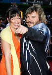 "Actor Jack Black and wife Tanya Haden arrive at the Los Angeles Premiere Of ""Tropic Thunder"" at the Mann's Village Theater on August 11, 2008 in Los Angeles, California."