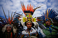 NEW YORK, USA - October 13: Indigenous descendible attend a ceremony to gods on October 13, 2019 in New York, USA. Hundreds of indigenous gather together for demanding the stop killing of their people in Ecuador and more awareness of what we're doing with the planet. (Photo by Eduardo MunozALvarez/VIEWpress)