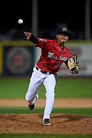 Billings Mustangs relief pitcher Frainger Aranguren (15) during a Pioneer League game against the Grand Junction Rockies at Dehler Park on August 14, 2019 in Billings, Montana. Grand Junction defeated Billings 8-5. (Zachary Lucy/Four Seam Images)