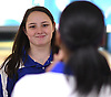 Kellie Sandas of Kellenberg gets congratulated after rolling a strike in Game 2 of the Nassau-Suffolk CHSAA varsity girls bowling team championship against St. Dominic at Farmingdale Lanes on Thursday, Feb. 8, 2018. She led Kellenberg to a 5-4 win with a 533 series.