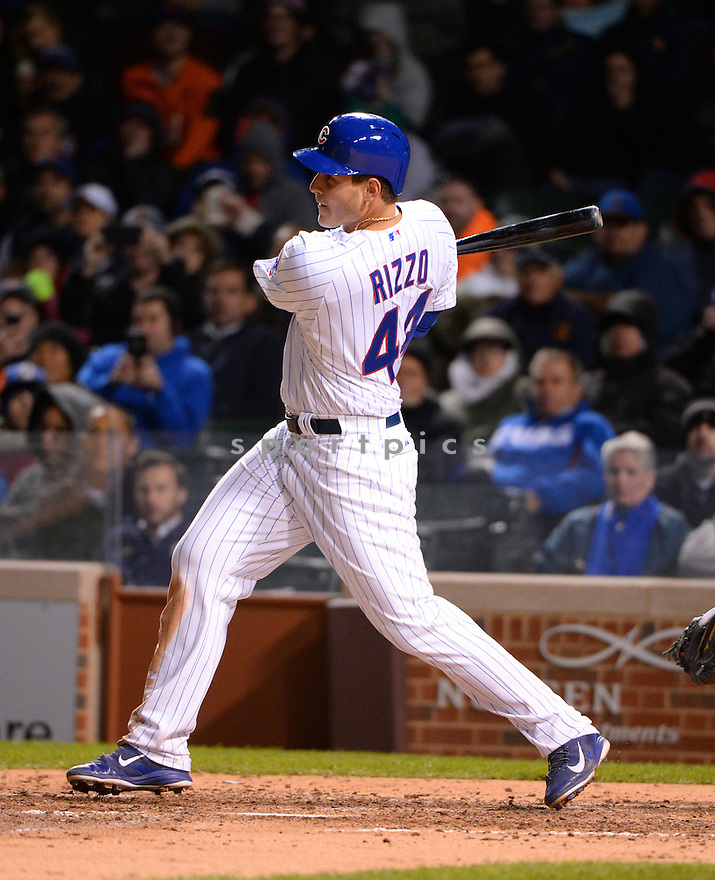 Chicago Cubs Anthony Rizzo (44) during a game against the New York Mets on May 13, 2015 at Wrigley Field in Chicago, IL. The Cubs beat the Mets 2-1.