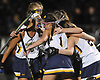 Massapequa teammates celebrate after a goal by Lauren Ahrens late in the second half of the Nassau County varsity field hockey Class A final against Baldwin at Adelphi University on Saturday, Oct. 28, 2017. Massapequa won by a score of 1-0.