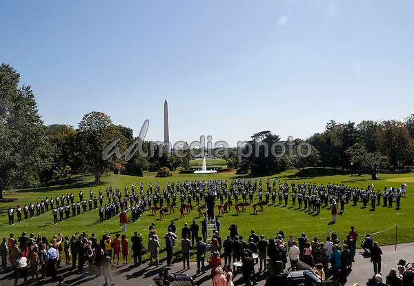 The Tennessee State Marching Band performs on the South Lawn of the White House during a reception in honor of the opening of the Smithsonian National Museum of African American History and Culture September 22, 2016, Washington, DC. (Pool/Aude Guerrucci)<br /> Credit: Aude Guerrucci / Pool via CNP