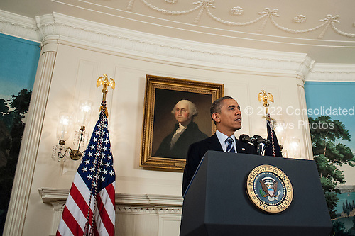 United States President Barack Obama speaks to the media about preparations for Tropical Storm Isaac from the White House Diplomatic Room in Washington, D.C., U.S., on Tuesday August 28, 2012.  Obama outlined emergency efforts already underway and urged residents in the storm's path to follow local officials' directions and evacuation orders. .Credit: Pete Marovich / Pool via CNP.