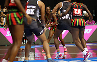 22.02.2018 Malawi's Thandie Galleta in action during the Fiji v Malawi Taini Jamison Trophy netball match at the North Shore Events Centre in Auckland. Mandatory Photo Credit ©Michael Bradley.