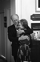 President Gerald Ford and First Lady Betty Ford offer each other comfort as they watch the election returns.<br /> 2 November 1976