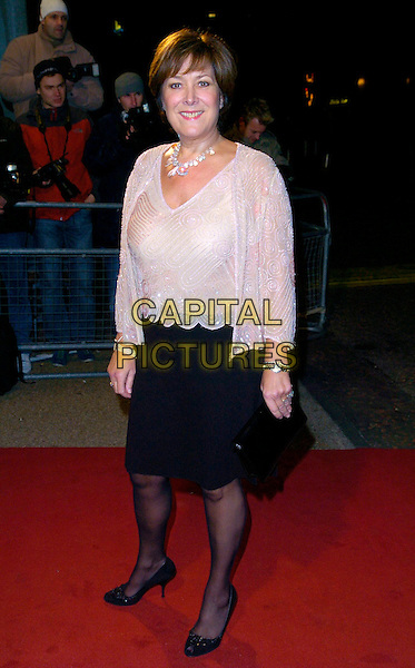 "LYNDA BELLINGHAM.Arrivals - ""An Audience With Lionel Richie"" TV recording, ITV Television Centre, Aouth Bank, London, England, December 9th 2006..full length linda beige cream beaded top black skirt.CAP/CAN.©Can Nguyen/Capital Pictures"