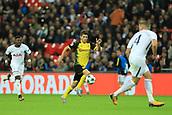 13th September 2017, Wembley Stadium, London, England; Champions League Group stage, Tottenham Hotspur versus Borussia Dortmund; Christian Pulisic of Borussia Dortmund runs at Toby Alderweireld of Tottenham Hotspur