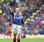 Paul Gascoigne salutes the Rangers fans
