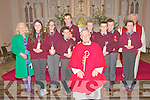 Pupils from Kilconly NS, Ballybunion who were confirmed in St. John's Church, Ballybunion on Tuesday last by Fr. John Lawlor, PP, Ballydonoghue. L- R : Mrs Boyle, Rachel Larkin, Lily Belle Beauseigneur, John Michael Kendlin, Mikey Kennelly, Fr. John Lawlor, Sean Moloney, Eamonn Lawlor, David Hennessy, Lillie Templeton & Fr. Noel Spring.