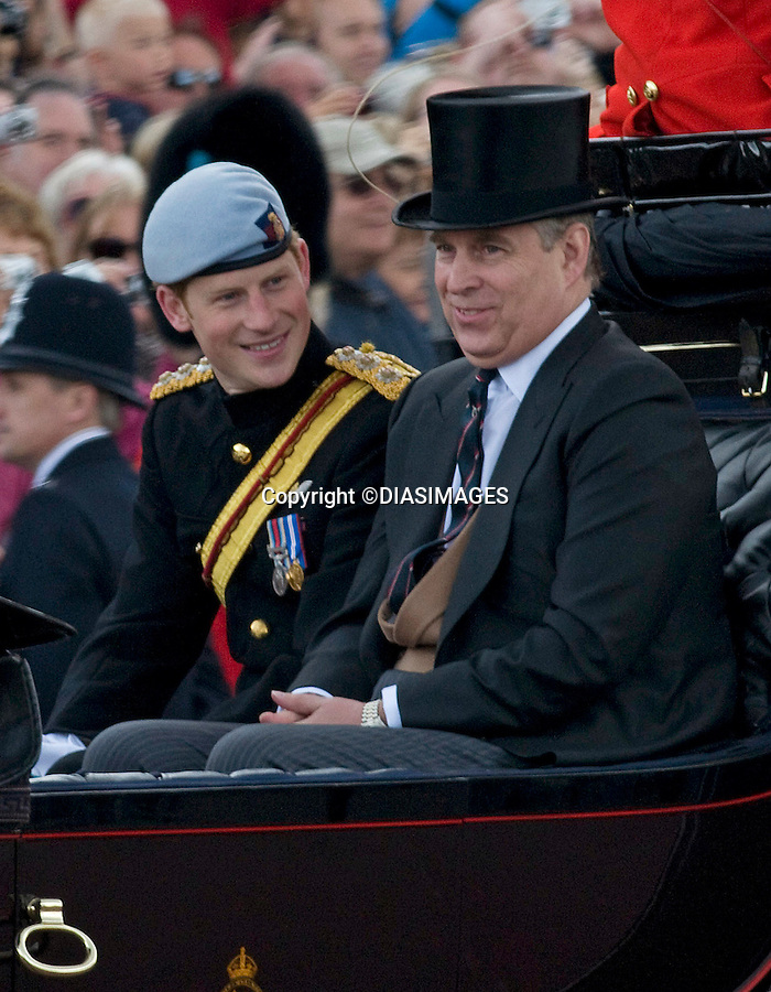 """PRINCE HARRY AND PRINCE ANDREW (The Spares) SHARE A JOKE IN THE CARRIAGE.This was Catherine, Duchess of Cambridge' sfird Trooping of the Colour..Prince William who is the Colonel of the Irish Guards was wearing their colours in his bearskin. The Trooping of Colour marks the official birthday of The Queen, London_11/06/2011.Mandatory Credit Photo: ©FRANCIS DIAS-DIASIMAGES..**ALL FEES PAYABLE TO: """"NEWSPIX INTERNATIONAL""""**..IMMEDIATE CONFIRMATION OF USAGE REQUIRED:.DiasImages, 31a Chinnery Hill, Bishop's Stortford, ENGLAND CM23 3PS.Tel:+441279 324672  ; Fax: +441279656877.Mobile:  07775681153.e-mail: info@newspixinternational.co.uk"""