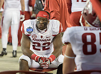 NWA Democrat-Gazette/JASON IVESTER<br /> Arkansas running back Rawleigh Williams (22) watches the Hokies final possession from the sideline in the fourth quarter during the Belk Bowl on Thursday, Dec. 29, 2016, at Bank of America Stadium in Charlotte, N.C.