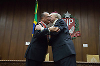 "SAO PAULO, SP, 26.05.2014. ALCKMIN - ORDEM DO IPIRANGA. O Rabino Henry Sobel recebe a honraria ""Ordem do Ipiranga"" do governador Geraldo Alckmin durante evento  no Palacio dos Bandeirantes.  (Foto: Adriana Spaca/Brazil Photo Press)"