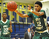 Camren Wynter #12 of Holy Trinity makes a pass during a varsity boys' basketball game against Hempstead at Baldwin High School on Tuesday, Dec. 29, 2015. Holy Trinity won by a score of 70-58.